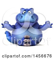 Clipart Graphic Of A 3d Blue Tommy Tyrannosaurus Rex Dinosaur Mascot Meditating On A White Background Royalty Free Illustration