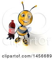 Clipart Graphic Of A 3d Male Bee Holding A Soda Bottle On A White Background Royalty Free Illustration