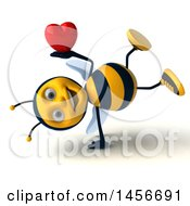 Poster, Art Print Of 3d Male Bee Holding A Heart On A White Background