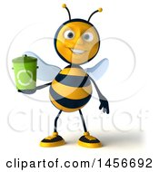 3d Male Bee Holding A Recycle Bin On A White Background