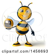 Clipart Graphic Of A 3d Male Bee Holding A Tv On A White Background Royalty Free Illustration