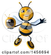 3d Male Bee Holding A Tv On A White Background