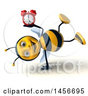3d Male Bee Holding An Alarm Clock On A White Background