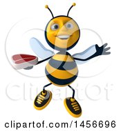 3d Male Bee Holding A Steak On A White Background