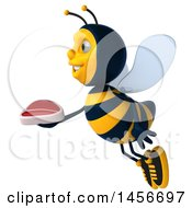 Clipart Graphic Of A 3d Male Bee Holding A Steak On A White Background Royalty Free Illustration