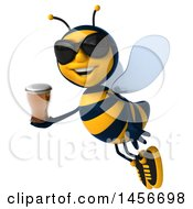 Clipart Graphic Of A 3d Male Bee Holding A Beer On A White Background Royalty Free Illustration