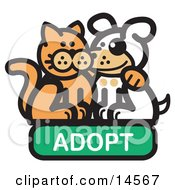 Orange Cat With His Arm Around A Cute White Dog On An Adopt Internet Web Icon Clipart Illustration by Andy Nortnik