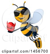 Clipart Graphic Of A 3d Male Bee Holding A Devil Head On A White Background Royalty Free Illustration