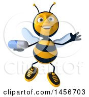 3d Male Bee Holding A Pill On A White Background