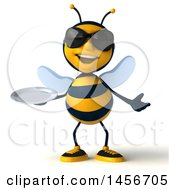 Clipart Graphic Of A 3d Male Bee Holding A Plate On A White Background Royalty Free Illustration