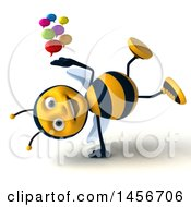 Clipart Graphic Of A 3d Male Bee Holding Speech Bubbles On A White Background Royalty Free Illustration