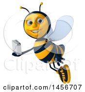 3d Male Bee Holding An Envelope On A White Background