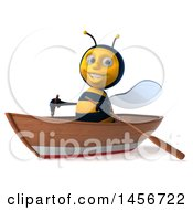 Clipart Graphic Of A 3d Male Bee Rowing A Boat On A White Background Royalty Free Illustration