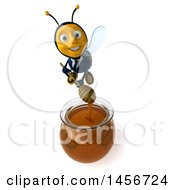Clipart Graphic Of A 3d Male Bee Over A Honey Jar On A White Background Royalty Free Illustration