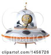 Clipart Graphic Of A 3d Male Bee Flying A Ufo On A White Background Royalty Free Illustration