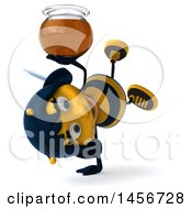 Poster, Art Print Of 3d Female Bee Holding A Honey Jar On A White Background