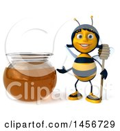 Poster, Art Print Of 3d Female Bee By A Honey Jar On A White Background