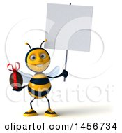 Clipart Graphic Of A 3d Male Bee Holding A Chocolate Egg On A White Background Royalty Free Illustration