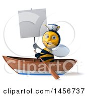 Clipart Graphic Of A 3d Sailor Bee Rowing A Boat On A White Background Royalty Free Illustration