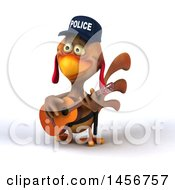 3d Brown Police Chicken Playing A Guitar On A White Background