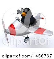 Poster, Art Print Of 3d Black Bird Flying An Airplane On A White Background