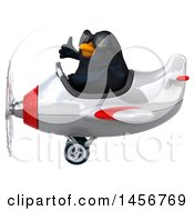 Clipart Graphic Of A 3d Black Bird Flying An Airplane On A White Background Royalty Free Illustration by Julos