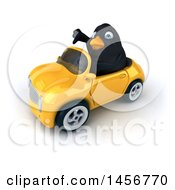Clipart Graphic Of A 3d Black Bird Driving A Convertible Car On A White Background Royalty Free Illustration by Julos