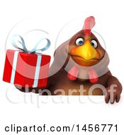 Clipart Graphic Of A 3d Chubby Brown Chicken Holding A Gift On A White Background Royalty Free Illustration