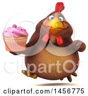 Clipart Graphic Of A 3d Chubby Brown Chicken Holding A Cupcake On A White Background Royalty Free Illustration
