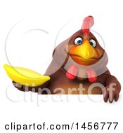 Clipart Graphic Of A 3d Chubby Brown Chicken Holding A Banana On A White Background Royalty Free Illustration