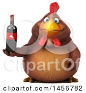 Clipart Graphic Of A 3d Chubby Brown Chicken Holding A Wine Bottle On A White Background Royalty Free Illustration