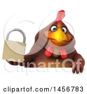 Clipart Graphic Of A 3d Chubby Brown Chicken Holding A Padlock On A White Background Royalty Free Illustration
