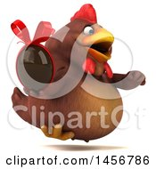 Clipart Graphic Of A 3d Chubby Brown Chicken Holding A Chocolate Egg On A White Background Royalty Free Illustration