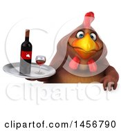 Clipart Graphic Of A 3d Chubby Brown Chicken Holding A Wine Tray On A White Background Royalty Free Illustration
