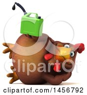 Clipart Graphic Of A 3d Chubby Brown Chicken Holding A Gas Can On A White Background Royalty Free Illustration