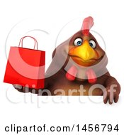 Clipart Graphic Of A 3d Chubby Brown Chicken Holding A Shopping Bag On A White Background Royalty Free Illustration