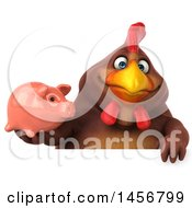 Clipart Graphic Of A 3d Chubby Brown Chicken Holding A Piggy Bank On A White Background Royalty Free Illustration