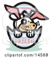 Buck Toothed Dog Wearing Bunny Ears In An Easter Egg Clipart Illustration by Andy Nortnik