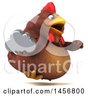 Clipart Graphic Of A 3d Chubby Brown Chicken Holding A Cloud On A White Background Royalty Free Illustration