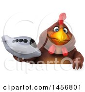 Clipart Graphic Of A 3d Chubby Brown Chicken Holding A Plane On A White Background Royalty Free Illustration