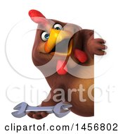 Clipart Graphic Of A 3d Chubby Brown Chicken Holding A Wrench On A White Background Royalty Free Illustration