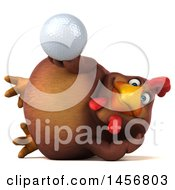 Clipart Graphic Of A 3d Chubby Brown Chicken Holding A Golf Ball On A White Background Royalty Free Illustration