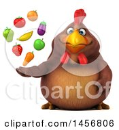 Clipart Graphic Of A 3d Chubby Brown Chicken Holding Produce On A White Background Royalty Free Illustration