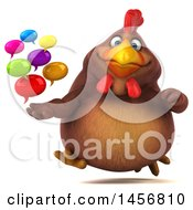 Clipart Graphic Of A 3d Chubby Brown Chicken Holding Speech Balloons On A White Background Royalty Free Illustration
