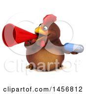 3d Chubby Brown Chicken Holding A Pill On A White Background