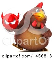 Clipart Graphic Of A 3d Chubby Brown Chicken Holding A Devil Head On A White Background Royalty Free Illustration