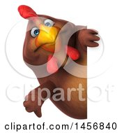Clipart Graphic Of A 3d Chubby Brown Chicken Giving A Thumb Down Around A Sign On A White Background Royalty Free Illustration