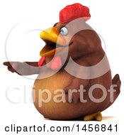 Clipart Graphic Of A 3d Chubby Brown Chicken Pointing On A White Background Royalty Free Illustration