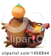 Clipart Graphic Of A 3d Chubby Brown Chicken Holding An Orange On A White Background Royalty Free Illustration