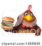 Clipart Graphic Of A 3d Chubby Brown Chicken Holding A Burger On A White Background Royalty Free Illustration